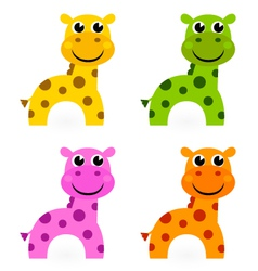 Funny colorful giraffe set isolated on white vector image
