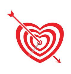 arrow impale on goal heart vector image vector image