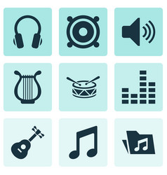 Audio icons set with dossier instrument vector