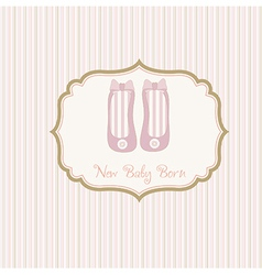 Baby shower card with shoes vector