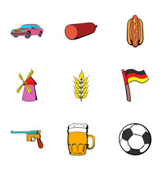 bavaria icons set cartoon style vector image