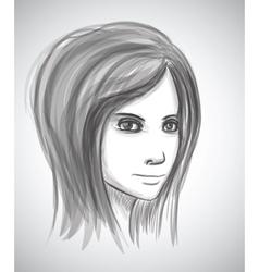 Beauty girl face Pencil sketch portrait imitation vector image