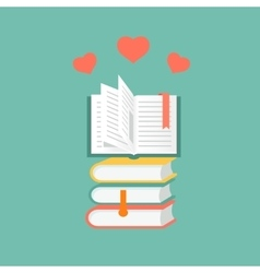 Books in flat design literature and library vector