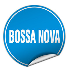 Bossa nova round blue sticker isolated on white vector