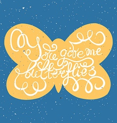 Butterflies with hand drawn typography poster vector image