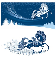 Christmas card with fairy horse vector