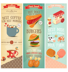 Coffee fast food ice cream banners vector