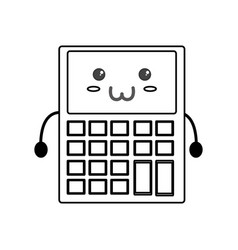 Cute calculator kawaii vector