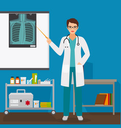 doctor checking lungs x-ray film vector image