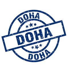 Doha blue round grunge stamp vector