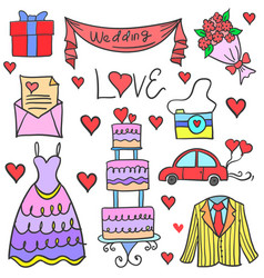 Doodle of wedding element collection stock vector