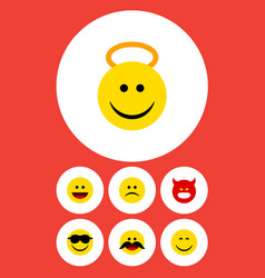 Flat icon face set of smile happy sad and other vector
