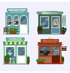 Flat of buildings that are vector
