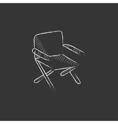 Folding chair drawn in chalk icon vector