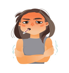 girl woman with thermometer in mouth having flu vector image vector image