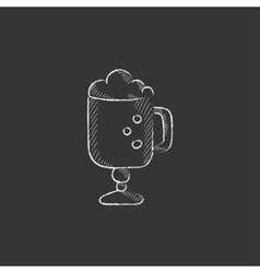 Glass mug with foam Drawn in chalk icon vector image