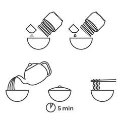 Graphic info of prepare instant noodle vector