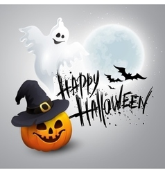Halloween party background with pumpkin and moon vector