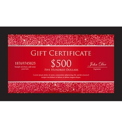 Luxury red gift certificate with borders composed vector