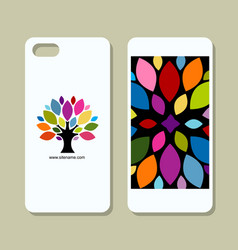 mobile phone cover design art tree vector image vector image