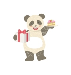 Panda cute animal character attending birthday vector