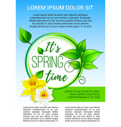 Poster for spring time holiday greeting vector
