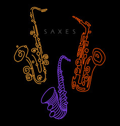 sax in neon colors vector image