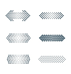 Set of arrows dots halftone vector image vector image
