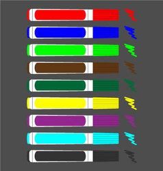 Set of colored felt-tip pens vector image vector image