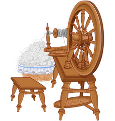 Shepherd spinning wheel and chair vector