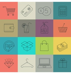 shopping and store thin line icon set vector image vector image