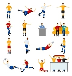 Soccer game people flat icons set vector image