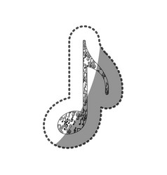 sticker quaver note monochrome silhouette formed vector image