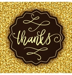 Thanks banner on golden seamless background vector