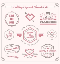 Wedding celebration badge and sign decoration vector image vector image