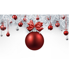 white background with red christmas ball vector image