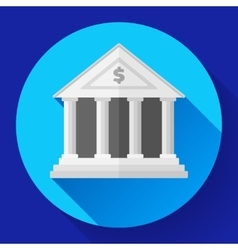 White bank icon with long shadow vector