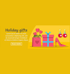 woman holiday gifts banner horizontal concept vector image vector image