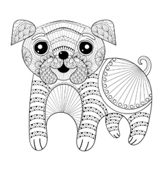 Zentangle hand drawing dog for antistress coloring vector