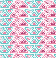 Rough brush pink and green triangles vector