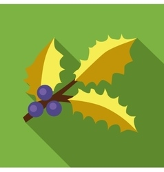 Holly berry leaves and fruits icon flat style vector