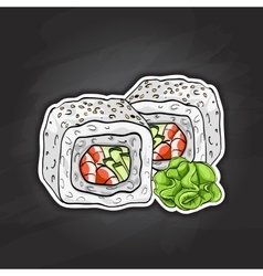Sushi color sketch boston roll vector