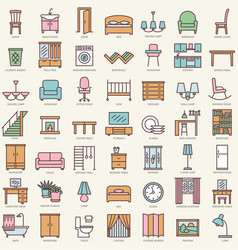 Room furniture linear color icons set vector