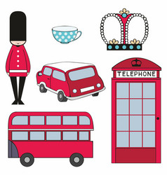 Colorful set of london symbols vector