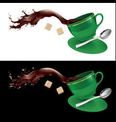 Coffee in green cup on white and black background vector