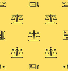 Seamless pattern with scales of justice vector