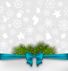 Christmas background with bow ribbon and fir twigs vector