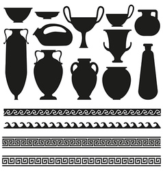 Ancient vase with greek geometric ornament for you vector