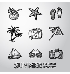 Summer holidays monochrome freehand icons set vector