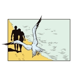 Seagull flying over loving couple vector